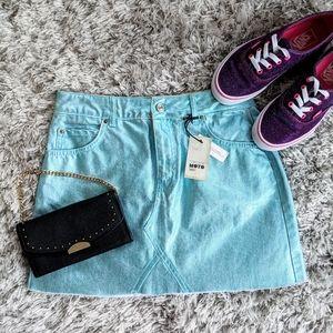 NWT Blue Metallic Coated Mini Skirt